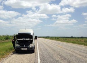 Broken down on a lonely Texas road.